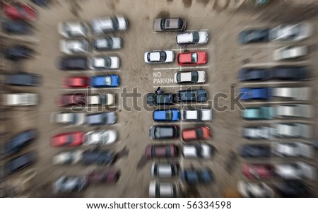 "Parking for cars. Falling from height and motion blur. The inscription on the free parking place ""no parking"". - stock photo"