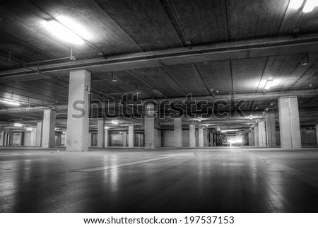 Parking Garage at the Airport in Black and White - stock photo