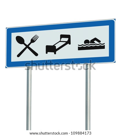 Parking Lot Road Sign Isolated, Restaurant, Hotel Motel, Swimming Pool Icons, Roadside Signage Pole Post, Blue, Black White Accommodation Resort Pointer Signpost Signboard - stock photo
