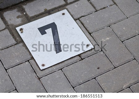 "Parking Number ""7"" - stock photo"