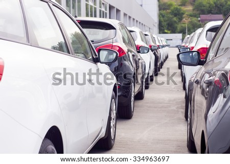 parking of new cars - stock photo
