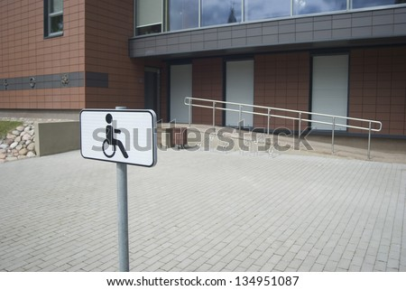 parking place and the disabled ramp - stock photo