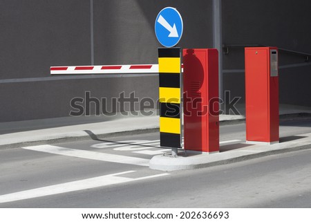 Parking ramp and sign the mandatory direction - stock photo