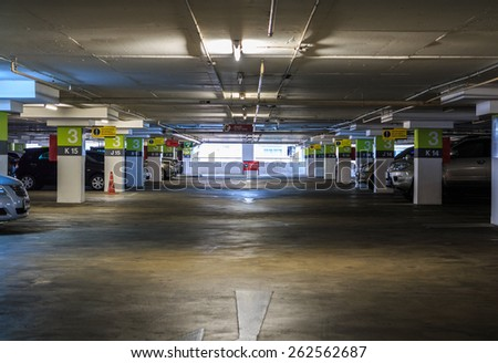 parking with cars - stock photo