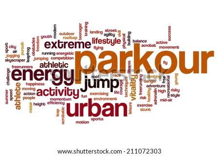 Parkour concept word cloud background - stock photo