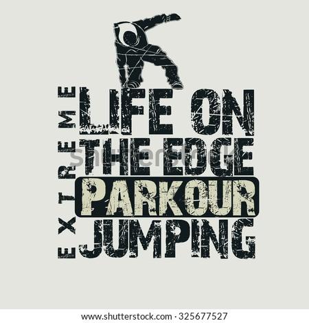 Parkour sport emblem design, urban graphic - stock photo