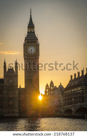 Parliament and Big Ben at Sunset and dusk in central London - stock photo