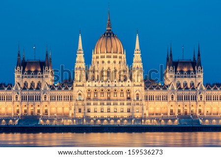 Parliament and Danau in Budapest at Twilight - stock photo