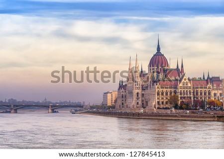 Parliament building, Budapest city, Hungary, on sunrise - stock photo