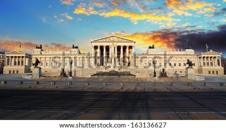Parliament in a Vienna at yellow sunrise - stock photo