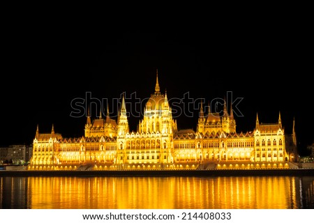 Parliament in Budapest, night view - stock photo