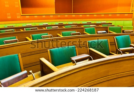 Parliament in City Hall Radhuset - Oslo Norway - stock photo