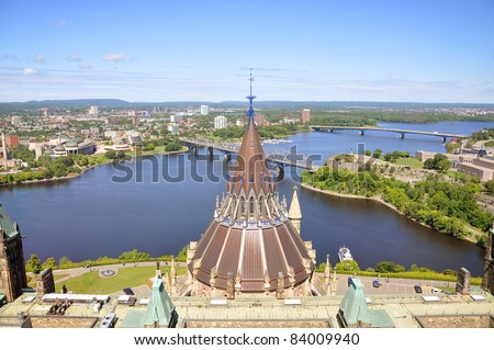 Parliament Library Aerial view, Ottawa River and Gatineau skyline from Peace Tower, Ottawa, Ontario, Canada - stock photo