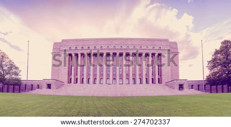 Parliament of Finland in Helsinky with instagram effect retro vintage filter - stock photo