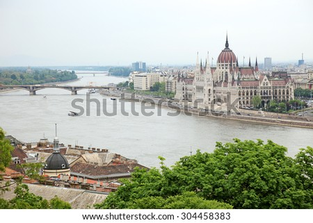 Parliament of Hungary on the riverside of Danube river, Budapest cityscape. - stock photo
