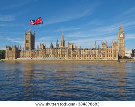 Parliament with UK flag: June 23 referendum, Should the United Kingdom remain a member of the European Union or leave the European Union. The poll is aka Brexit meaning Britain exit - stock photo