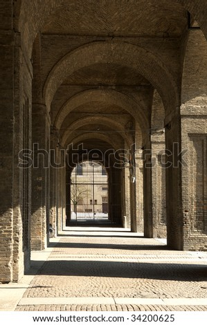 Parma,Emilia Romagna,Italy,the Palace of Pilotta,the arches, 1583-1622 - stock photo