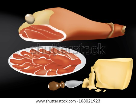Parma ham and a piece of Parmesan cheese - stock photo