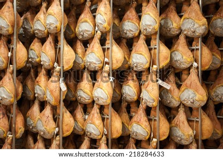 Parma ham curing and salting processes - stock photo