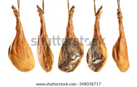 Parma ham (jamon) isolated on white background. Collection. - stock photo