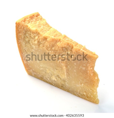 parmesan cheese on a white background - stock photo