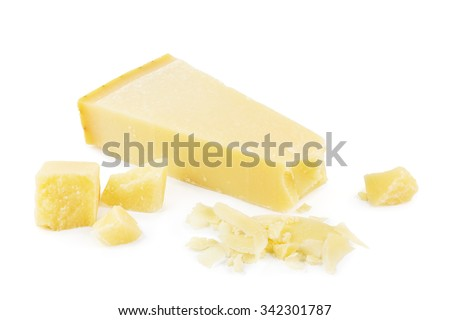 Parmesan cheese with parmesan shavings on white. - stock photo