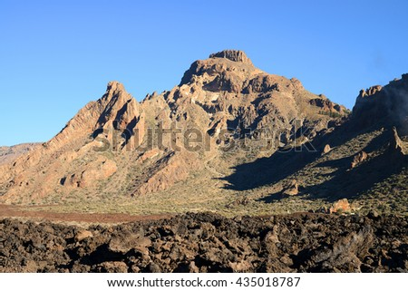 Parque Nacional del Teide at sunset, Tenerife, Canary Islands, Spain - stock photo