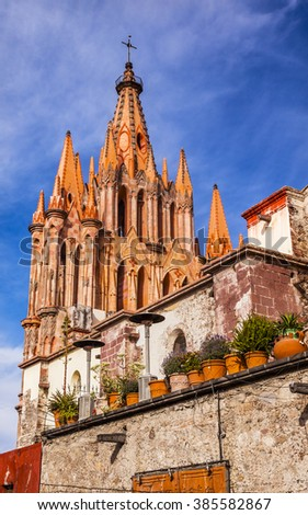 Parroquia Archangel church Wall San Miguel de Allende Mexico. Parroquia created in 1600s.   - stock photo