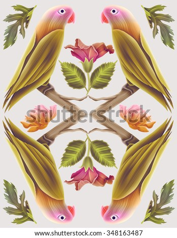 Parrot and tropical flower geometry, jungle symmetry background, plant and bird pattern colorful background. Hawaiian, californian, florida summer style - stock photo