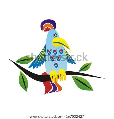 Parrot cartoon illustration - stock photo