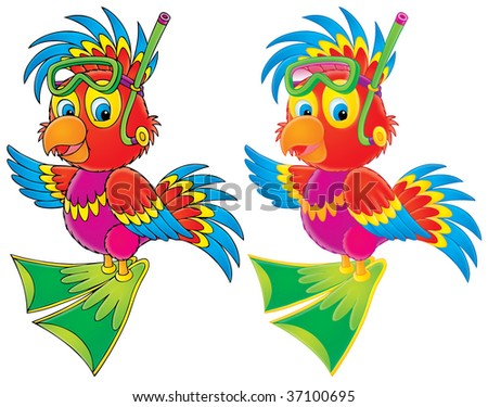Parrot Diver (color and black contours) - stock photo