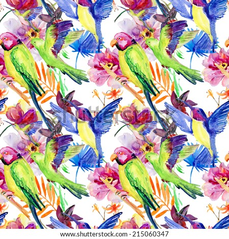 parrots and flowers. Seamless background. - stock photo