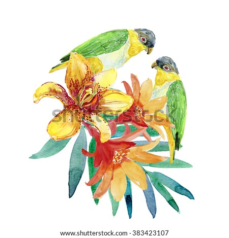 parrots and flowers. watercolor painting isolated, green parrot with tropical flowers, tropical illustration, fashion print with a parrot with palm leaves and flowers. - stock photo