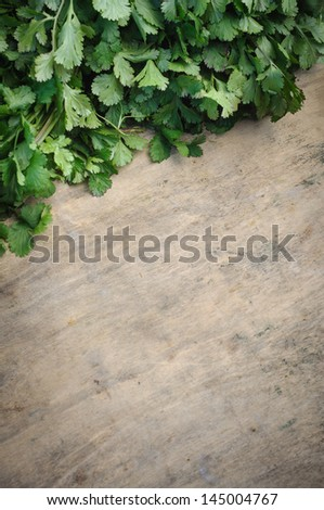 Parsley on chopping board - stock photo