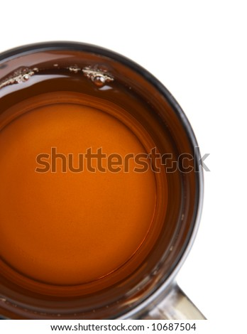 Part a cup of tea over white - stock photo