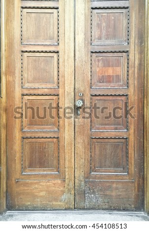 Part of a double wooden door - stock photo