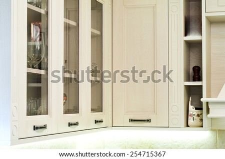 Part of a modern kitchen-kitchen glass showcases - stock photo