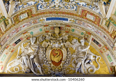 Part of a painted wall and ceiling at the Vatican Museum - stock photo