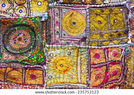 Part of a patchwork indian cloth - stock photo