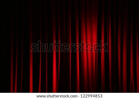 Part of a red curtain. - stock photo
