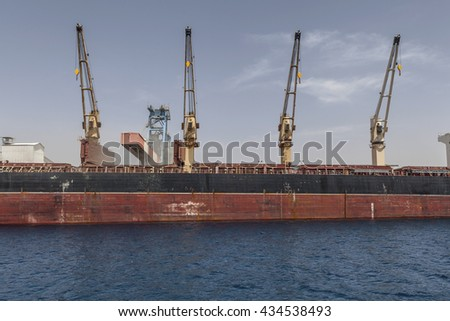 Part of a ship working on sea - stock photo