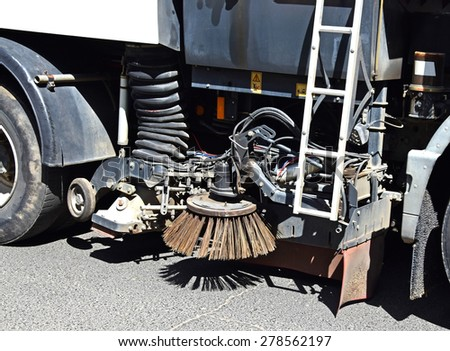 Part of a street cleaner vehicle - stock photo