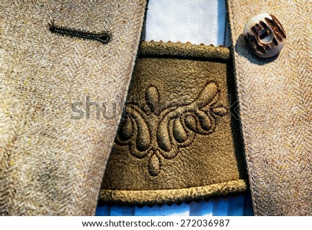 part of a typical old bavarian tracht - stock photo