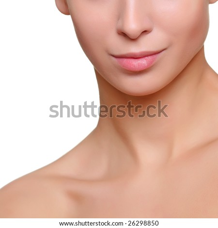 Part of a woman's face close up, isolated on a white background, please see some of my other parts of a body images: - stock photo