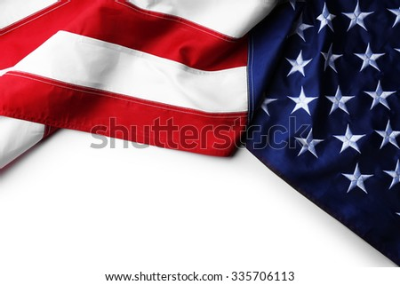 Part of American National Flag isolated on white - stock photo