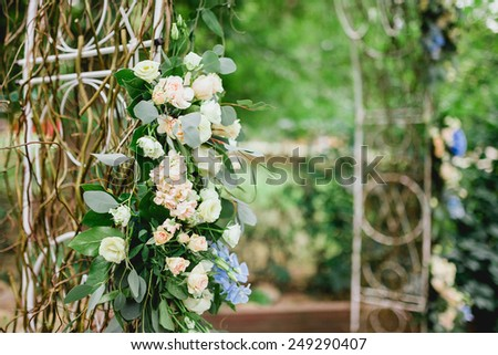 part of an arch from wedding ceremony - stock photo