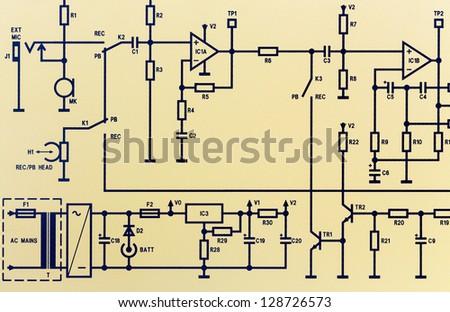 Part of an electronic circuit diagram - stock photo