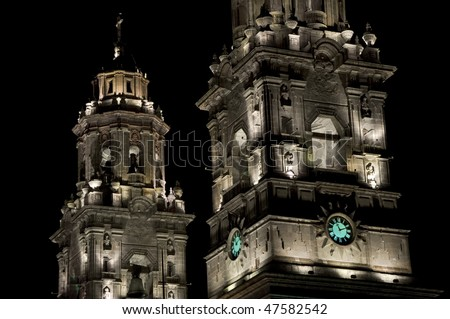 Part of an illuminated Cathedral in Morelia, Mexico - stock photo