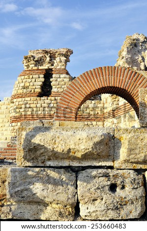 Part of ancient city wall in the city of Nesebar in Bulgaria - stock photo