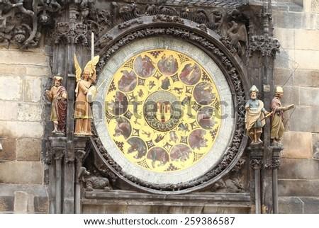 Part of astronomical clock - stock photo